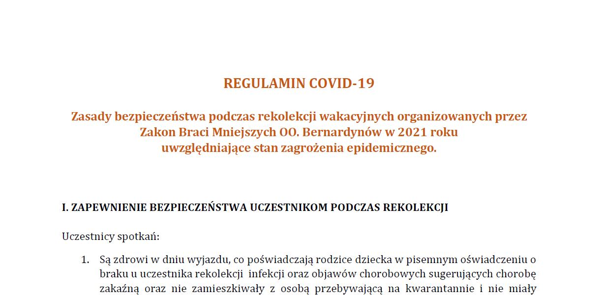 Aktualizacja Regulaminu Covid-19